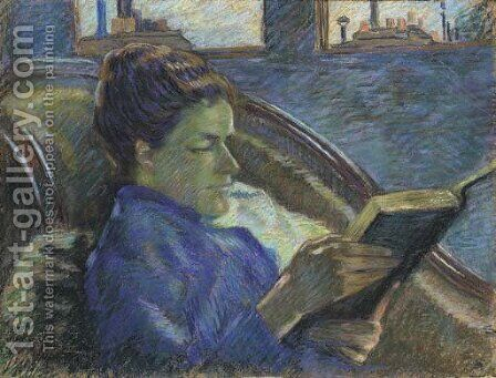 La lecture de Mme Guillaumin by Armand Guillaumin - Reproduction Oil Painting