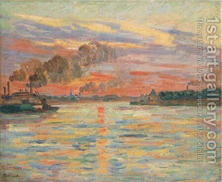 Les Forges d'Ivry, confluent de la Seine et de la Marne by Armand Guillaumin - Reproduction Oil Painting