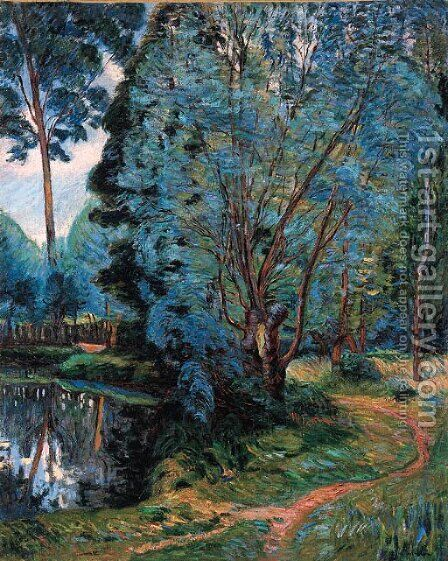 Paysage boise a l'etang by Armand Guillaumin - Reproduction Oil Painting
