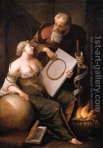 Eternity seated by a five, holding a tablet with the ouroboros in her left hand, her right hand leaning on a sphere, as Wisdom stands nearby by Arnold Houbraken - Reproduction Oil Painting