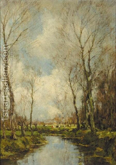 A brook in a forest by Arnold Marc Gorter - Reproduction Oil Painting