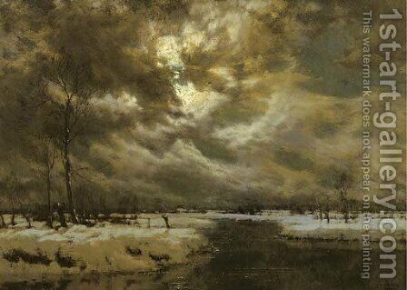 A moonlit winterlandscape by Arnold Marc Gorter - Reproduction Oil Painting