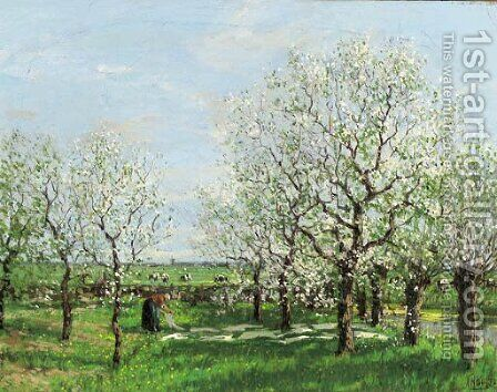 An orchard in spring by Arnold Marc Gorter - Reproduction Oil Painting