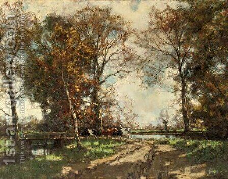 Cows on a birchpath by Arnold Marc Gorter - Reproduction Oil Painting