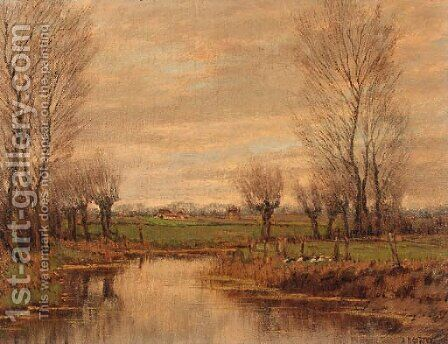 Ducks in a meadow, in spring by Arnold Marc Gorter - Reproduction Oil Painting