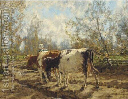 Leading the cattle along a country track by Arnold Marc Gorter - Reproduction Oil Painting