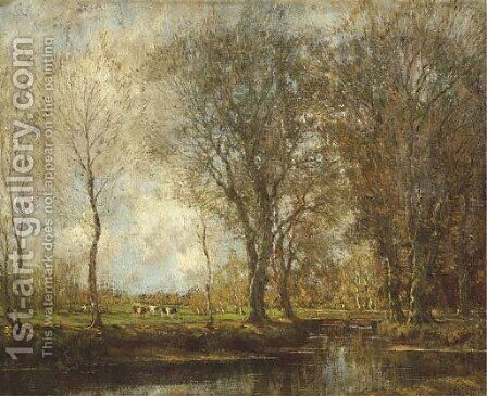 Vordense beek cows in a meadow near a stream by Arnold Marc Gorter - Reproduction Oil Painting