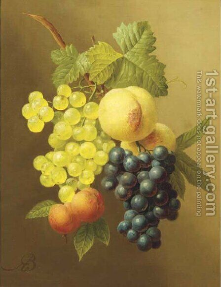 A swag of peaches, grapes and apricots by Arnoldus Bloemers - Reproduction Oil Painting