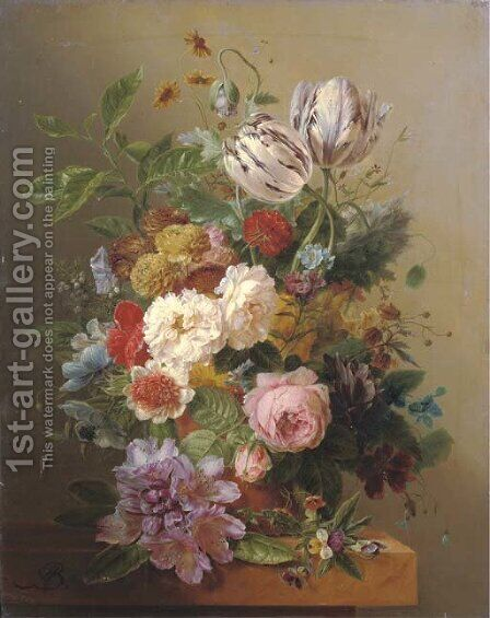 An exuberant flower still life by Arnoldus Bloemers - Reproduction Oil Painting