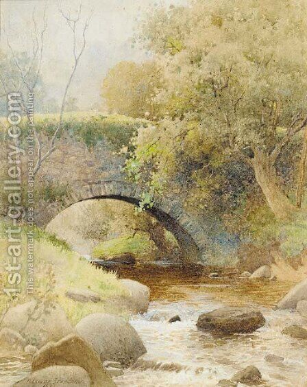A bridge over a stream in a wooded landscape by Arthur Claude Strachan - Reproduction Oil Painting