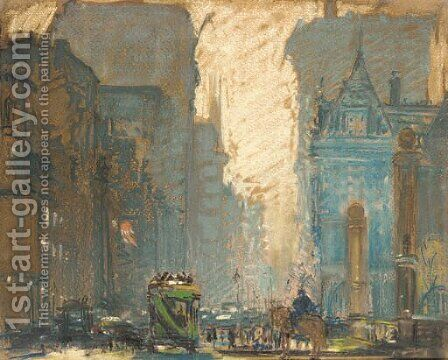 Fifth Avenue at 59th Street by Arthur C. Goodwin - Reproduction Oil Painting