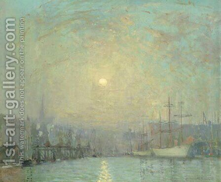 Mystic Dock, Boston by Arthur C. Goodwin - Reproduction Oil Painting