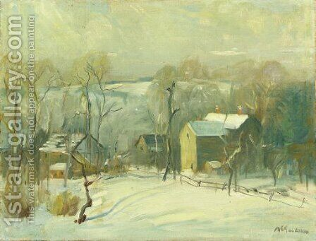 Village in Snow by Arthur C. Goodwin - Reproduction Oil Painting
