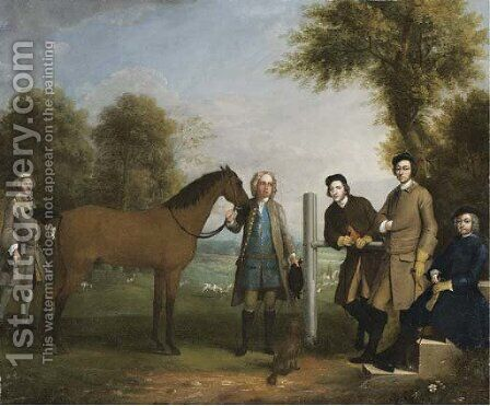 Group Portrait, Including Edward Chester (1712-1767), Owner Of Cockenhatch, His Brother, Peter (1720-1799), Governor Of Florida, A Groom And The Clerg by Arthur Devis - Reproduction Oil Painting