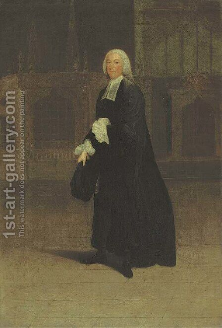 Portrait of Sir James Burrow (1701-1782), small full-length, as Master of the Crown Office by Arthur Devis - Reproduction Oil Painting