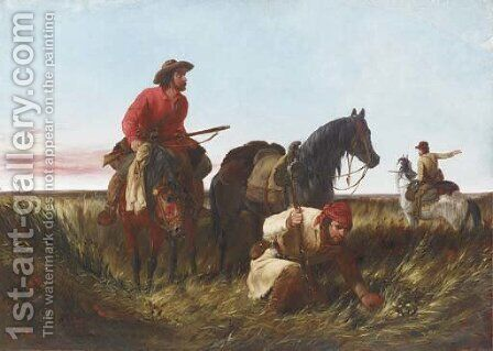 Trappers Following the Trail At Fault by Arthur Fitzwilliam Tait - Reproduction Oil Painting