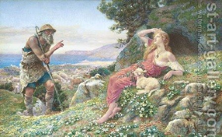 A shepherd admonishing Perdita for her love of Florizel by A. Foord Hughes - Reproduction Oil Painting