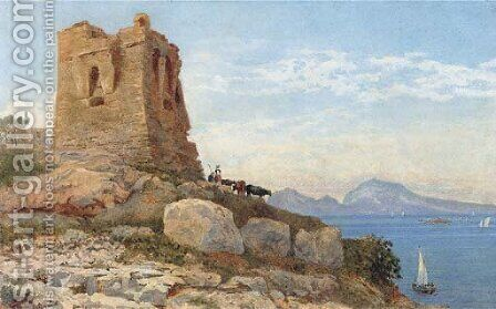 Cattle grazing before a ruined tower on the coast at Sorrento by Arthur Glennie - Reproduction Oil Painting