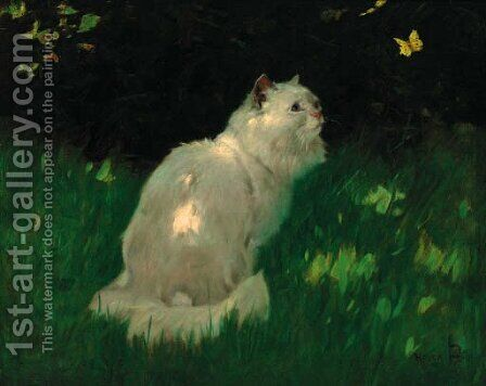 A white Persian cat look at a butterfly by Arthur Heyer - Reproduction Oil Painting