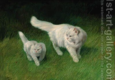 Two cats by Arthur Heyer - Reproduction Oil Painting