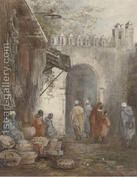 Market place, Tangiers by Arthur Legge - Reproduction Oil Painting