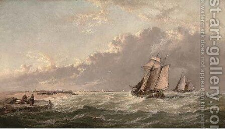 Dutch barges running inshore in a stiff breeze by Arthur Joseph Meadows - Reproduction Oil Painting