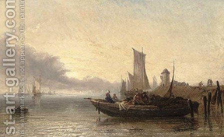Dutch market boat - River Dort, early evening by Arthur Joseph Meadows - Reproduction Oil Painting