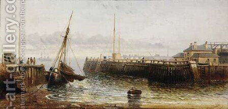 The entrance to Dover harbour, low-tide by Arthur Joseph Meadows - Reproduction Oil Painting