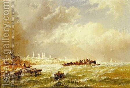 Wreckers off the coast by Arthur Joseph Meadows - Reproduction Oil Painting