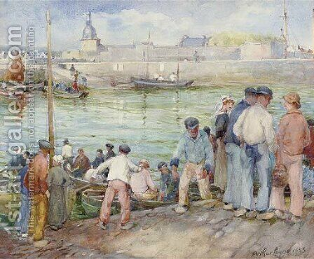 Landing fish, Concarneau by Arthur Legge - Reproduction Oil Painting