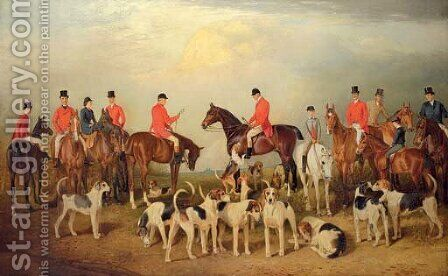The Burton Hunt, with Lincoln Cathedral in the distance by Arthur Louis Townshend - Reproduction Oil Painting