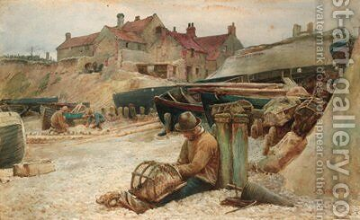 Mending the nets by Arthur MacDonald - Reproduction Oil Painting