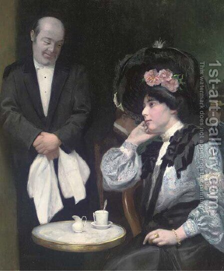 Waiting to take the next order by Arthur Navez - Reproduction Oil Painting