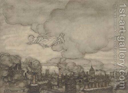 An illustration to J.M. Barrie's 'Peter Pan in Kensington Gardens' 'Away he flew, right over the houses to the Gardens' by Arthur Rackham - Reproduction Oil Painting