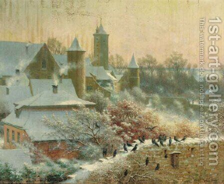 A Continental village in winter by Arthur Wasse - Reproduction Oil Painting