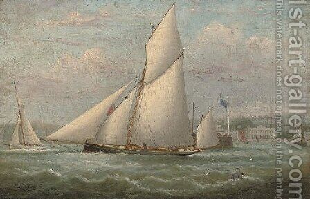 Racing cutters tacking inshore off Ryde Pier by Arthur Wellington Fowles - Reproduction Oil Painting