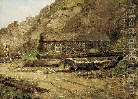 A boat yard, Newquay by Arthur Wilde Parsons - Reproduction Oil Painting