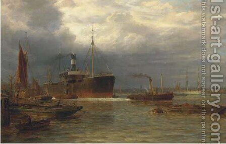Towing out the tramp by Arthur Wilde Parsons - Reproduction Oil Painting