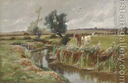 Cattle by a stream by Arthur Walker Redgate - Reproduction Oil Painting