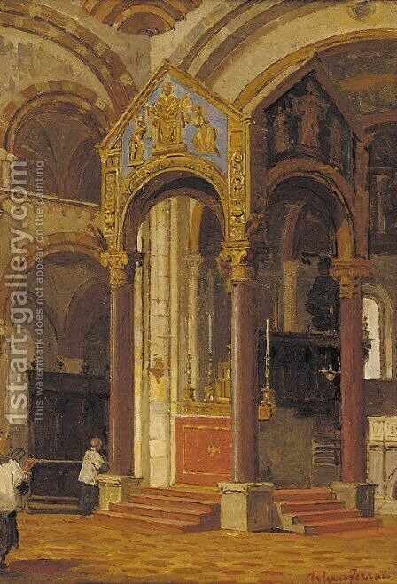 Choir boys in a church interior by Arthur von Ferraris - Reproduction Oil Painting