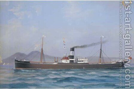 S.S. Nentmoor in Neapolitan waters by Atributed To A. De Simone - Reproduction Oil Painting