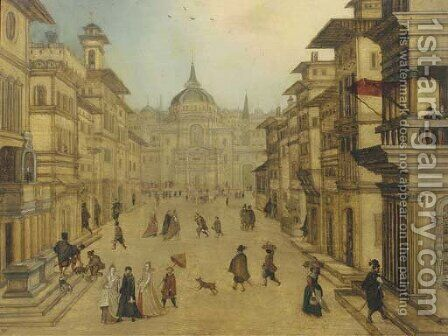 Elegant figures strolling in a Renaissance town by (after) Louis De Caullery - Reproduction Oil Painting