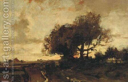 Sunset on a country road by (after) Theophile Emile Achille - Reproduction Oil Painting