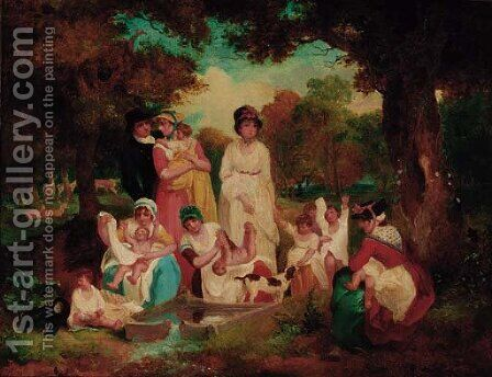 The Dipping Well, Hyde Park, London by Attibuted To Francis Wheatley - Reproduction Oil Painting