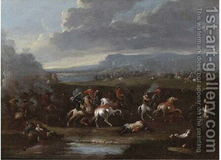 A cavalry skirmish by (after) Karel Breydel - Reproduction Oil Painting