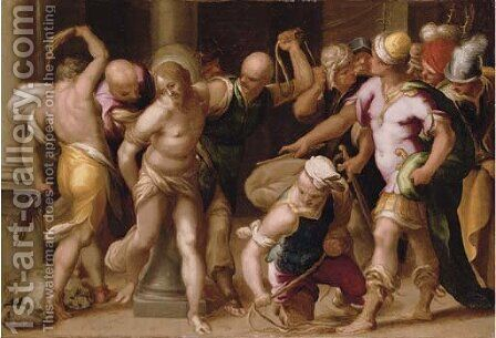 The Flagellation by (after) Acopo D'Antonio Negretti (see Palma Giovane) - Reproduction Oil Painting