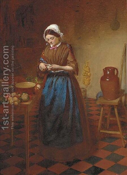 Peeling turnips by (after) A. D. Macallister - Reproduction Oil Painting