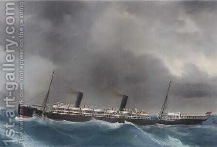 R.M.S. Ophir in heavy weather by (after) A. De Simone - Reproduction Oil Painting