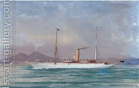 The steam yacht Mekong in the Mediterranean off Naples by (after) A. De Simone - Reproduction Oil Painting