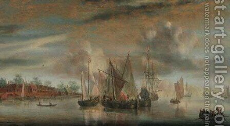 A calm Wijdships and a threemaster at anchor in a river estuary, at sunset by (after) Abraham De Verwer - Reproduction Oil Painting